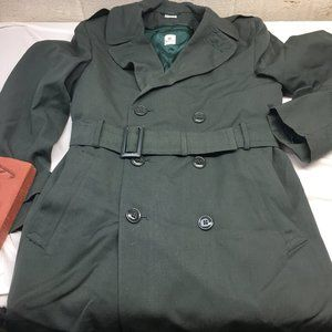 Vintage Wool Military Over Coat With Liner Mens 36